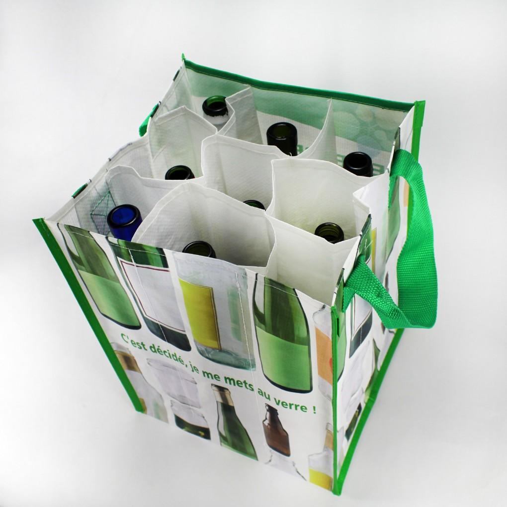 Format 27 x 35 x 27 cm - PP tissé 140 grs + 9 compartiments - Aspect brillant