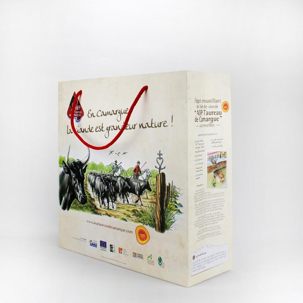 Format 36 x 36 x 13 cm - Papier kraft blanc 170 grs - Poignées cordelettes coton